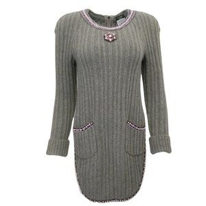 Chanel Cashmere Jeweled Low / High Grey Sweater